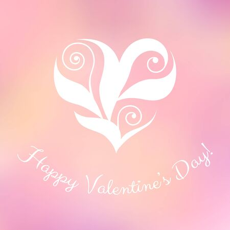 asymmetrical: Elegant floral heart and a Happy Valentines Day! greeting. Seasonal design template over a blurred background.