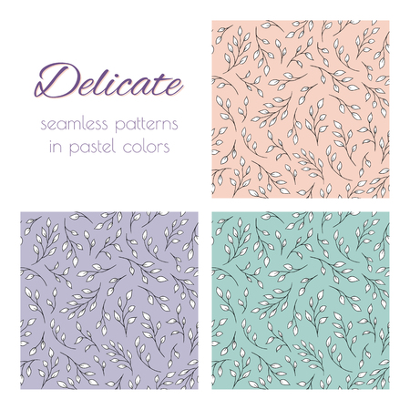 hues: Set of seamless vector patterns with tree branches. Elegant natural ornaments in pastel hues. Already in swatches. Illustration