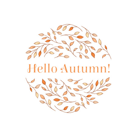 Elegant tree branches arranged in a circle with a Hello Autumn! inscription. Seasonal autumn concept in delicate yellow and orange hues. Illustration