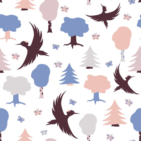Pattern with flying woodpeckers, trees and butterflies in pastel color. Illustration