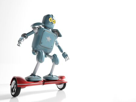 retro robot rides on a gyroscope hoverboard isolate on white 3d render.