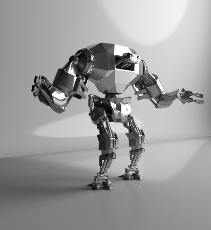 3D rendering of futuristic robot isolate on white. Stock Photo