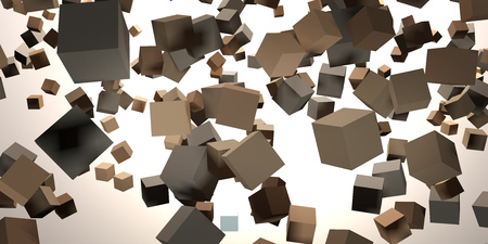 3D Rendering of Chaotically flying cubes in abstract space Stock Photo