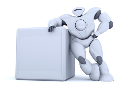 3D rendering futuristic robot show screen. Stock Photo