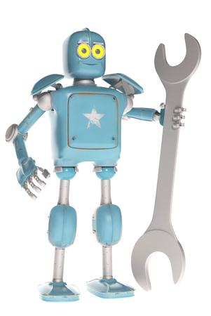 retro vintage robot with spanner; on a white background. 3D rendering. Stock Photo