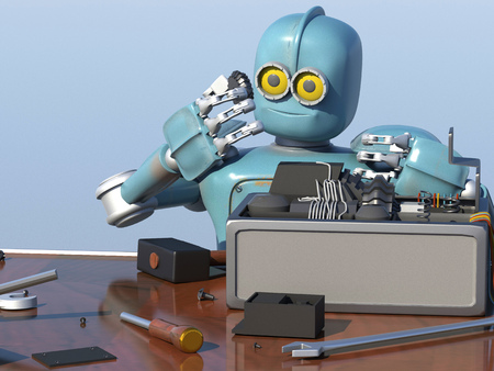 Retro Robot Repairs a broken mechanism, Android restores the detail. 3d Render.