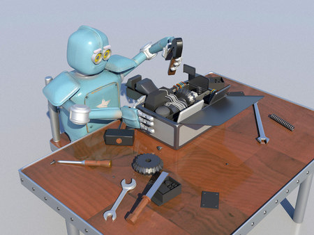 Retro Robot Repairs a broken mechanism, Android restores the detail. 3d Render.