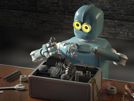 Retro Robot Repairs a broken mechanism, restores the detail. 3d Render.
