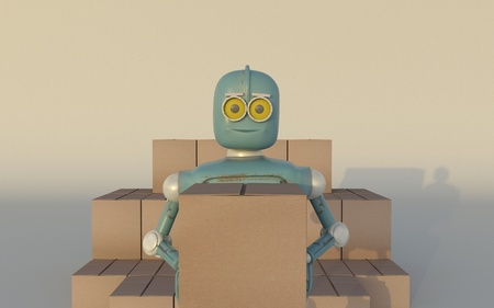 Retro Robot with Shipping Boxes Render 3d. Фото со стока