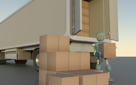 Retro Robot with Shipping Boxes load in truck Render 3d. Фото со стока