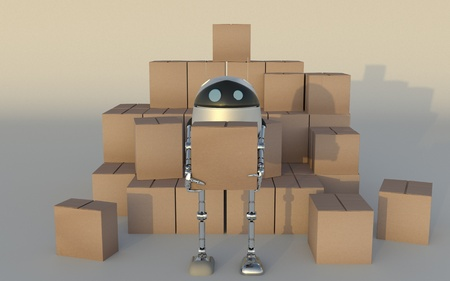 Robot with Shipping Boxes Render 3d.