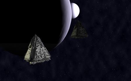 The spaceship 3d render.