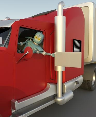robot in car 3d render.