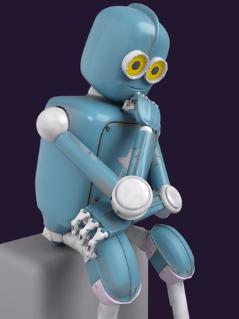 retro robot thinks sitting on the cube, artificial intelligence, ai. 3D rendering.