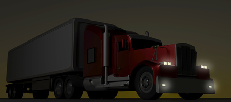 American style red truck at night. Semi Truck with Cargo Trailer. 3D rendering. Archivio Fotografico