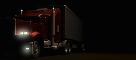 American style red truck at night. Semi Truck with Cargo Trailer. 3D rendering. Reklamní fotografie