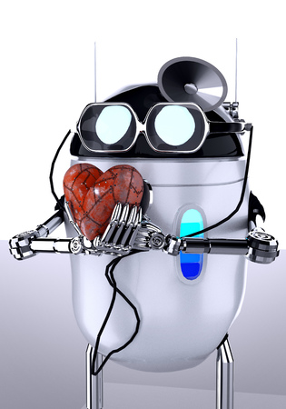 Robot medic with stethoscope,metal heart,3d render.