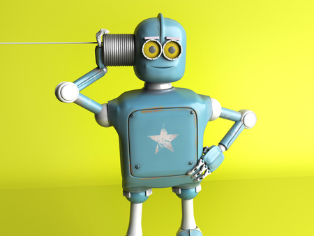 The retro robot with tin can phone. 3d render.