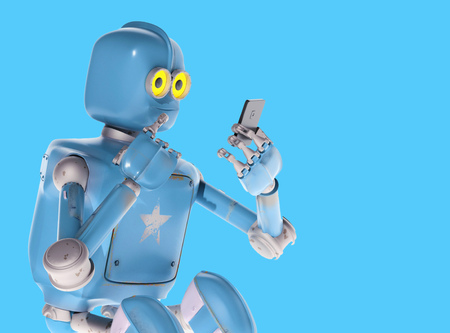 grunge vintage robot look on cell phone. 3D rendering.