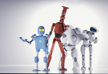 The robots in line.3d render.
