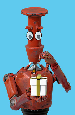 The retro robot presenting gift box.3d rendering.
