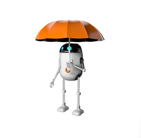 The robot with umbrella, 3d render.