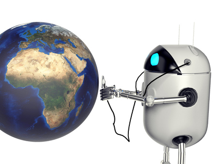 The robot is watching the earth,3d render.
