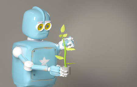 The retro robot hold plant,droid with sprout,3d render.