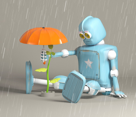 The retro robot protect sprout, plant,3d, render 版權商用圖片