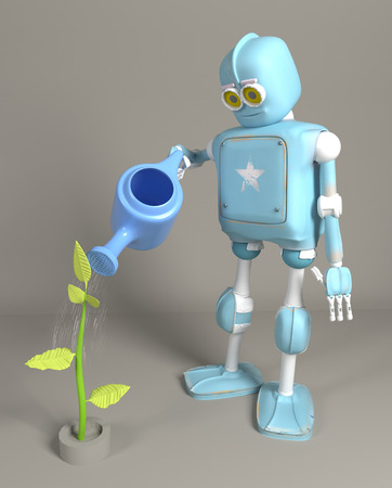 the retro robot is watering the sprout 3d, render. 写真素材 - 121765768