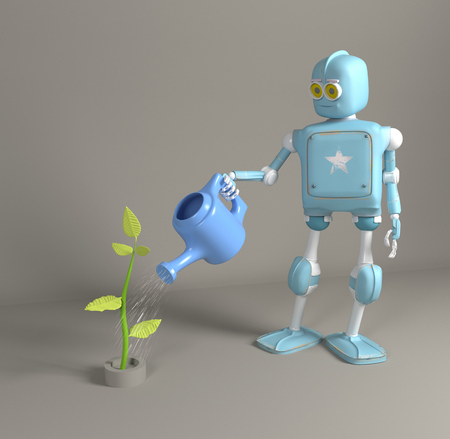 the retro robot is watering the sprout 3d, render.