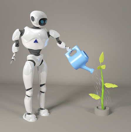 the robot is watering the sprout 3d, render.