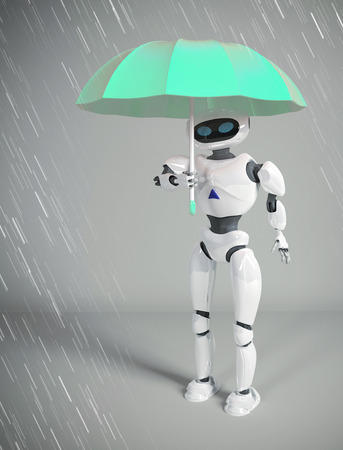 robot female with umbrella, 3d render. Stock Photo