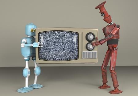 the two robot holding televizion, 3d, render. Reklamní fotografie