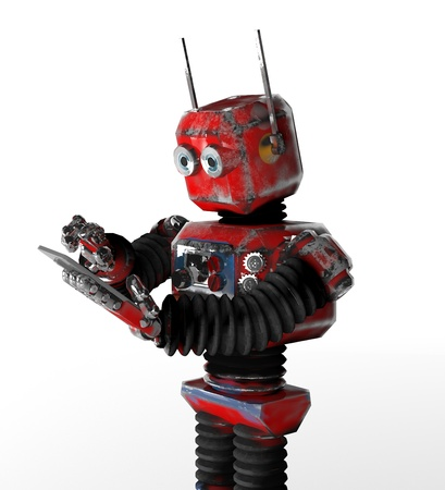 The retro robot with a telephone. Stock Photo