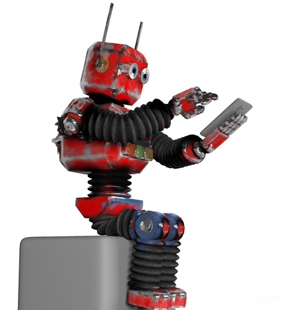 The retro robot with a telephone on box, 3d, render.