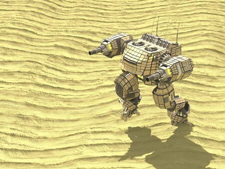 The tank robot in desert,3d ,render. 写真素材