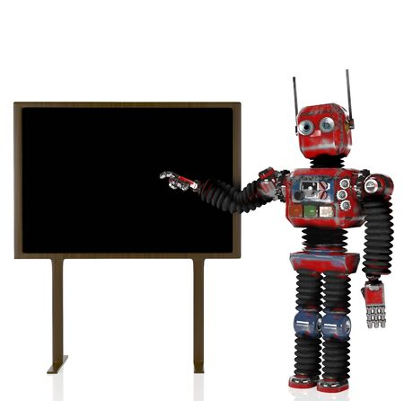 The retro robot with blackboard,3d render.