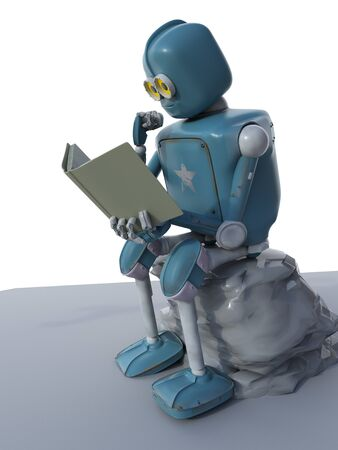 The robot is sitting on a stone and reading a book.3d.render. Foto de archivo