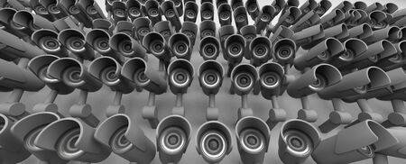 Many security cameras on the city , big brother watching you. Surveillance CCTV camera. 3D rendering.