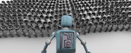 A lot of cameras are watching the retro robot,Many security cameras on the city , big brother watching you. Surveillance CCTV camera, 3D rendering.