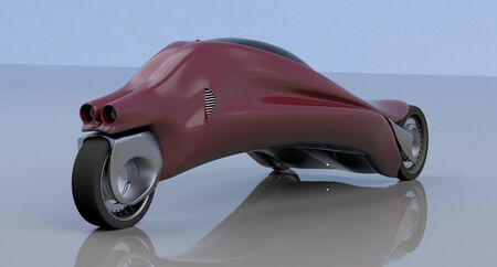 fantastic car concept of the future electro three wheels. 3D rendering. Banco de Imagens - 127314820