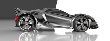 The modern black sports car ,3d ,render. Imagens