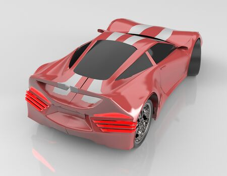 The modern red sports car ,3d ,render. Imagens