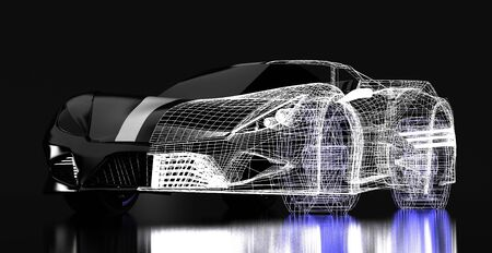 The 3d concept design ,Modern black sports car ,skeleton,3d ,render.
