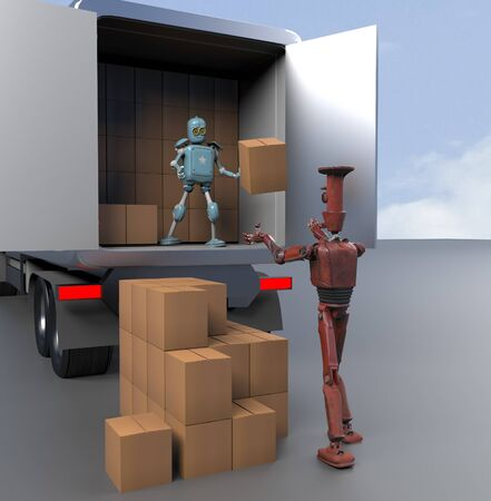 The Two retro Robots with Shipping Boxes load in truck Render 3d.