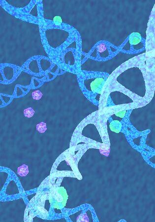 The blue Dna molecule,3d render.
