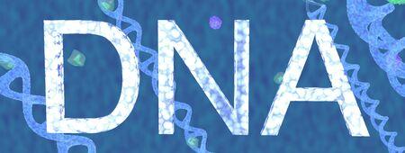 The blue Dna molecule,text,3d render.