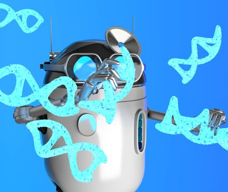 The robot with Blue Dna molecule,text,3d render.