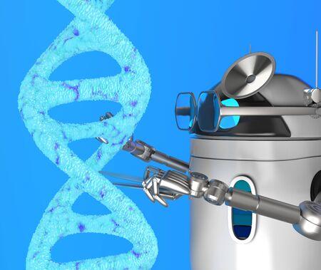 The robot fix Blue Dna molecule,text,3d render.